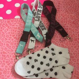 3 VS PINK LANYARDS &Ankle Socks